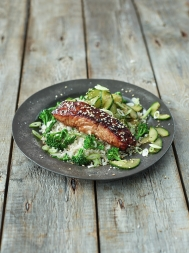 Sticky Asian-style salmon with broccoli, quick pickled cucumber & rice