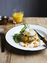 Beef hash cakes with chipotle yoghurt