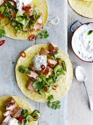 Five-spice salmon tacos