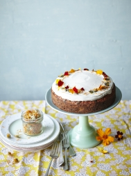 Apricot & root veg cake with honey yoghurt icing