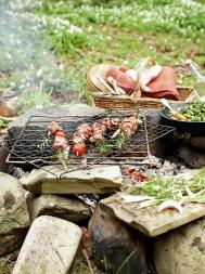 Herby lamb kebabs