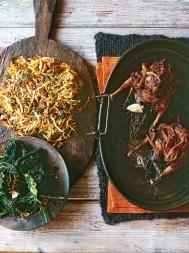 Roast grouse with chianti, chestnut rӧsti & cavolo nero