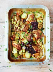 Wine-braised chicken with roasted grapes