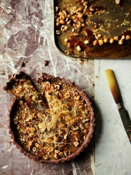 Chocolate & caramel tart with hazelnuts