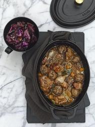 Pheasant stew with chestnut dumplings