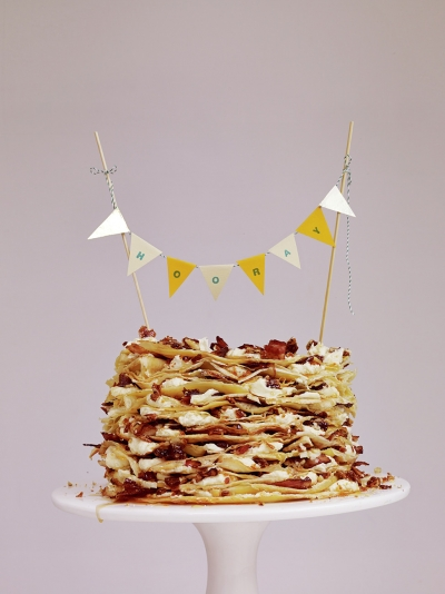 Maple crepe cake with caramelised pancetta