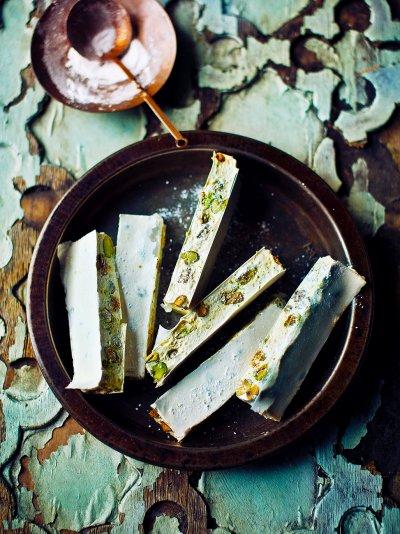 Pistachio, lemon & thyme nougat
