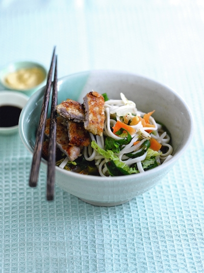 Pork tonkatsu and noodles