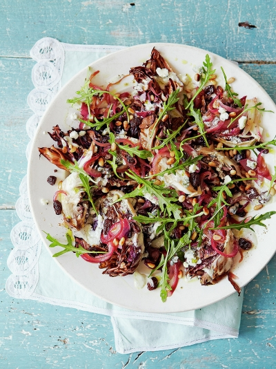Grilled radicchio with gorgonzola dressing