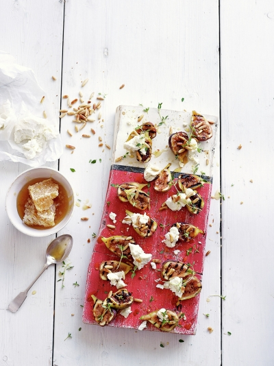 Figs with pine nuts & goat's curd