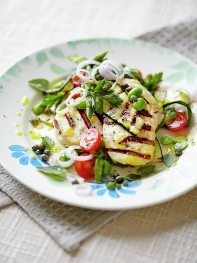 Halloumi with griddled vegetables