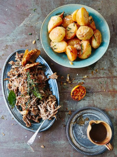 Easy Christmas roast duck with crispy potatoes and port gravy