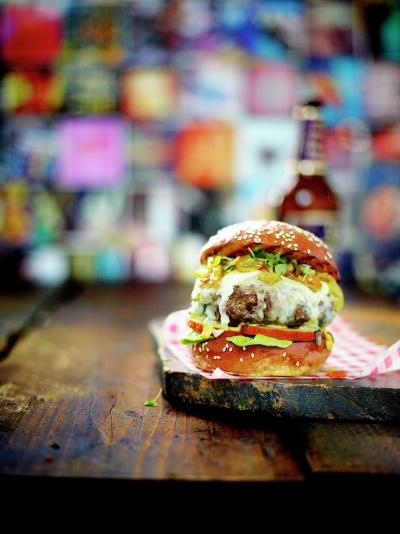 Blue cheese & apple burger