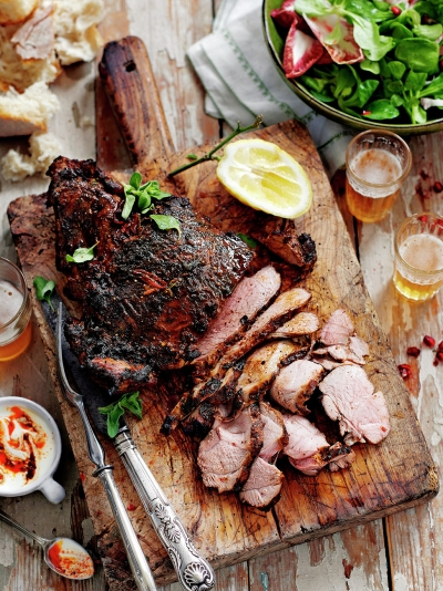 Butterflied leg of lamb with Mexican-style marinade