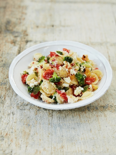Baked ricotta & tomato orecchiette with broccoli, fresh oregano & chilli