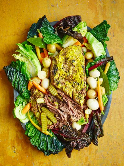 Mustard brisket with veg & beef broth