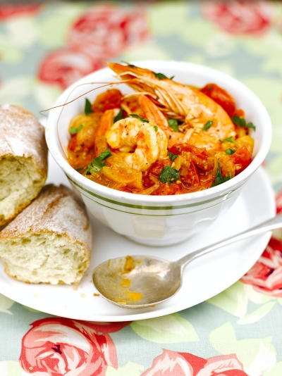 Spanish-style prawns with fennel