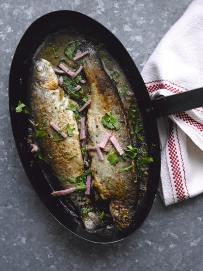 Trout with ham and cider