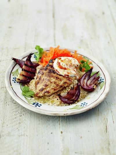 Grilled Moroccan chicken with lemony couscous & carrot salad